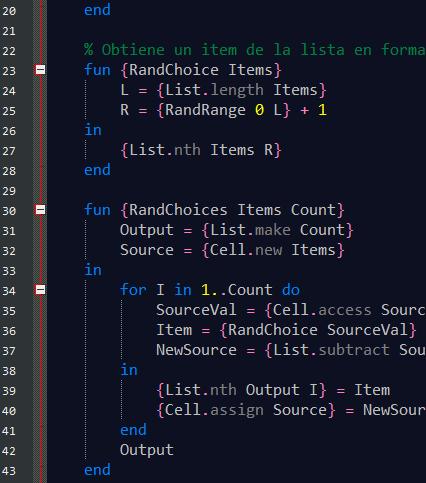 Muestra del Resaltado de sintaxis para Mozart OZ en Notepad++